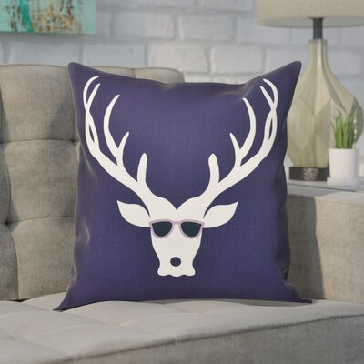 Leonis Holiday Print Throw Pillow Color: Navy Blue, Size: 18 H x 18 W