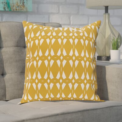 Freja Geometric Print Throw Pillow Size: 26 H x 26 W, Color: Gold