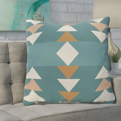 Bobbi Geometric Throw Pillow Color: Aqua