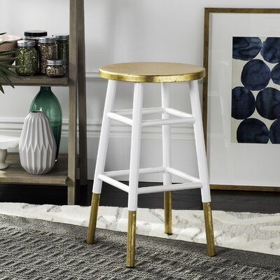 Platon 24 Bar Stool Upholstery: White / Gold