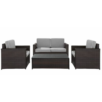 Belton 4 Piece Deep Seating Group with Cushion Fabric: Grey