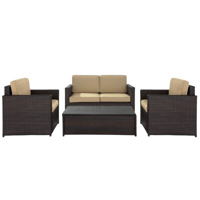 Belton 4 Piece Deep Seating Group with Cushion Fabric: Sand