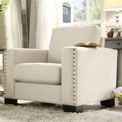 Blackston Nailhead Trim Armchair Upholstery: White