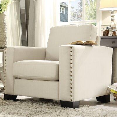 Blackston Nailhead Trim Armchair Upholstery: White
