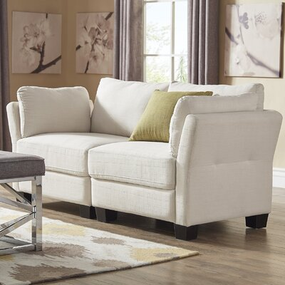 Camp Mabry Loveseat Upholstery: White