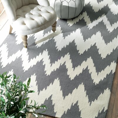 Rutherford Chevron Hand-Tufted Soft Gray Area Rug Rug Size: Rectangle 5 x 8