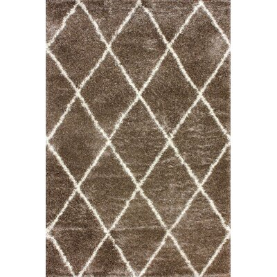 Bronson Tawny Trellis Shag Brown Area Rug Rug Size: Rectangle 92 x 12