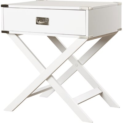 Marotta 1 Drawer End Table Color: White