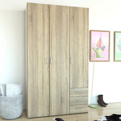 Minda 3 Drawer and 3 Door Armoire Finish: Oak