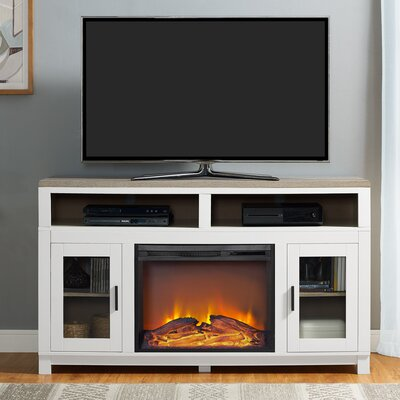 "Callowhill 54"" TV Stand with Fireplace Color: White MROW8313 33933117"