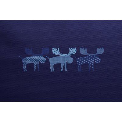 Reindeer Blue Indoor/Outdoor Area Rug Rug Size: 5 x 7