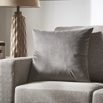 Markos Velvet Throw Pillow Color: Coal, Size: 18 x 18