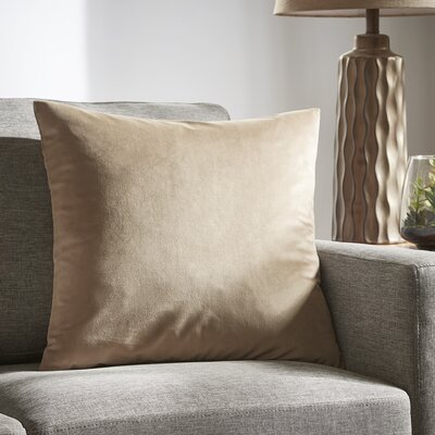 Markos Velvet Throw Pillow Color: Latte, Size: 20 x 20
