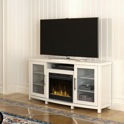 Byas 65 TV Stand with Fireplace Color: White Wood