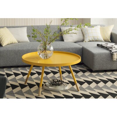 Acevedo Coffee Table with Tray Top Color: Yellow