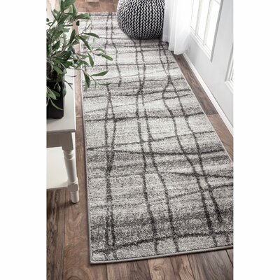 Zuri Chalkboard Checkers Light Gray Area Rug Rug Size: 82 x 116