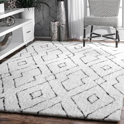 Peraza Hand-Tufted White Area Rug Rug Size: Rectangle 9 x 12