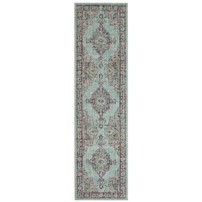 Bunn Light Blue/Navy Area Rug Rug Size: Runner 22 x 8