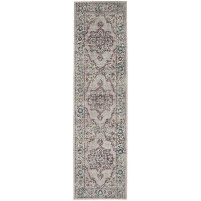 Bunn Gray/Light Blue/Pink Area Rug Rug Size: Runner 22 x 8