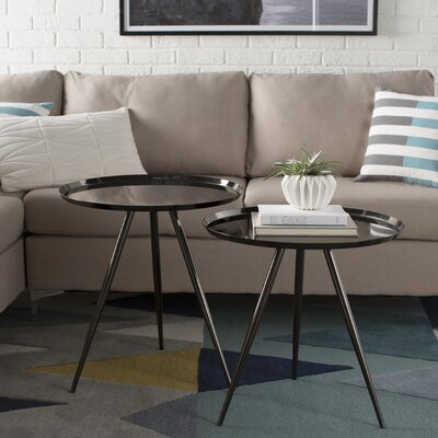 Calle 2 Piece Nesting Tables Finish: Black Nickel
