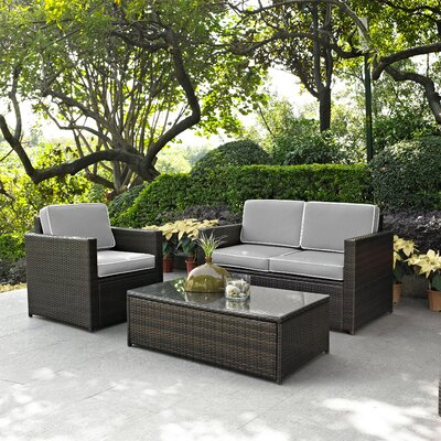 Belton 3 Piece Deep Seating Group with Cushion Fabric: Grey
