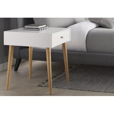 Blakeney 1 Drawer End Table Finish: White