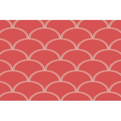 Archey Circles Coral/White Area Rug Rug Size: 2 x 3
