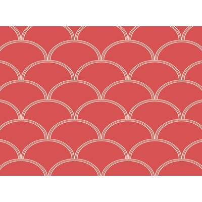 Brendan Circles Coral/White Area Rug Rug Size: 4 x 6