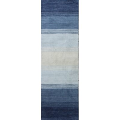 Hand-Woven Wool Blue Area Rug Rug Size: Runner 26 x 8