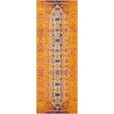 Hydra Orange Area Rug Rug Size: Runner 22 x 14