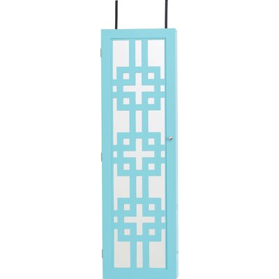 Modern Over The Door Jewelry Armoire with Mirror Color: Turquoise