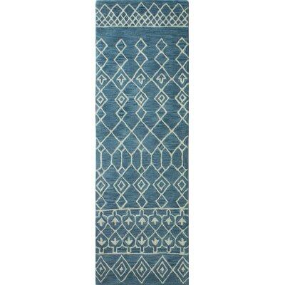 Bielecki Hand-Tufted Wool Azure Area Rug Rug Size: Runner 26 x 8