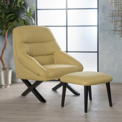 Davalos Lounge Chair and Ottoman Upholstery: Bright Green