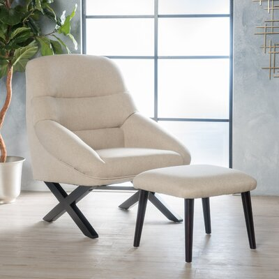 Davalos Lounge Chair and Ottoman Upholstery: Wheat Cream