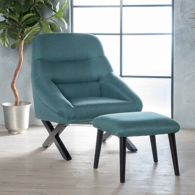 Davalos Lounge Chair and Ottoman Upholstery: Teal