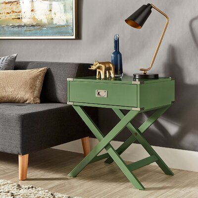 Marotta 1 Drawer End Table Color: Meadow Green
