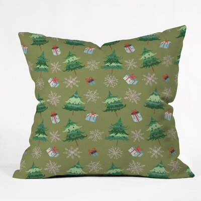 Christmas Trees and Snowflakes Throw Pillow Size: 26 H x 26 W x 7 D