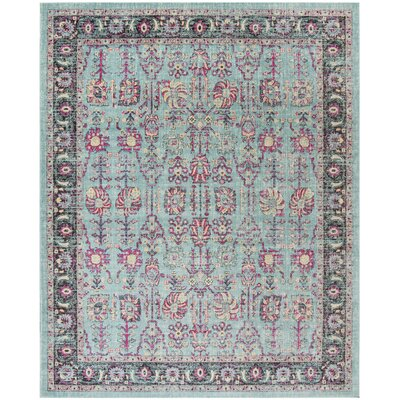Bunn Light Blue/Black Area Rug Rug Size: Rectangle 8 x 10