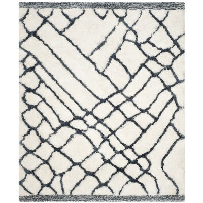 Briganti Hand-Tufted Ivory/Blue Area Rug Rug Size: Rectangle 8 x 10