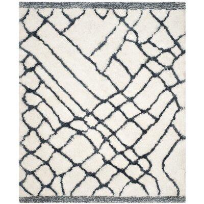 Briganti Hand-Tufted Ivory/Blue Area Rug Rug Size: Rectangle 8 x 10
