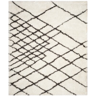 Briganti Hand-Tufted Ivory/Dark Gray Area Rug Rug Size: Rectangle 8 x 10