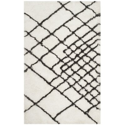 Briganti Hand-Tufted Ivory/Dark Gray Area Rug Rug Size: Rectangle 5 x 8