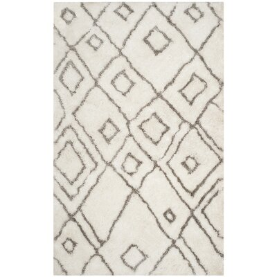 Briganti Hand-Tufted Ivory/Light Gray Area Rug Rug Size: Rectangle 5 x 8