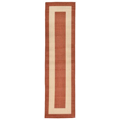 Aaliyah Border Power Loom Rust Indoor/Outdoor Area Rug Rug Size: Runner 111 x 76