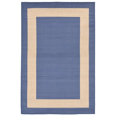 Aaliyah Casual Border Power Loom Blue Indoor/Outdoor Area Rug Rug Size: Rectangle 410 x 76