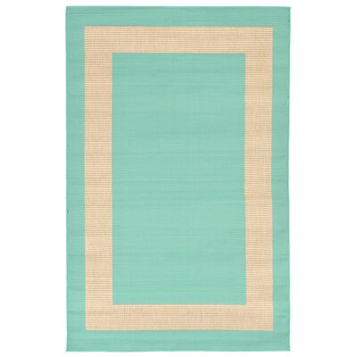 Aaliyah Border Turquoise Indoor/Outdoor Area Rug Rug Size: Rectangle 410 x 76