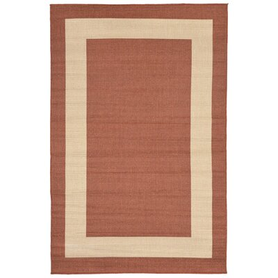 Aaliyah Border Power Loom Rust Indoor/Outdoor Area Rug Rug Size: Rectangle 710 x 910