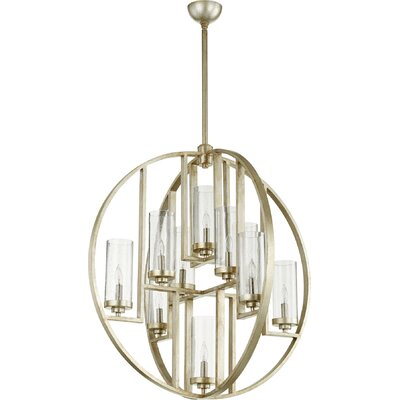 Goodrow 10-Light Globe Pendant Finish: Aged Silver, Shade Color: Clear