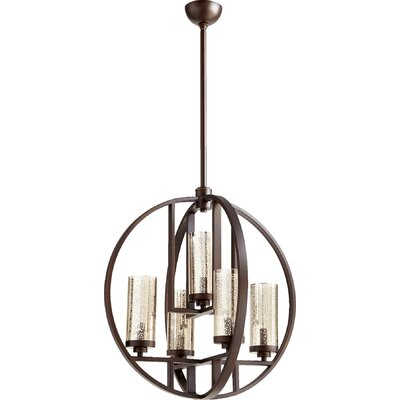 Goodrow 5-Light Globe Pendant Finish: Oiled Bronze, Shade Color: Mercury