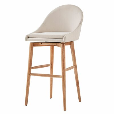 Prism 29 Swivel Bar Stool Finish: Natural, Upholstery: Beige